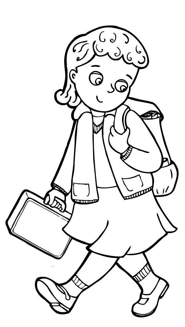 School girl clipart black and white 14 » Clipart Station
