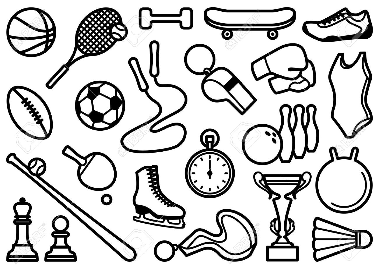 hight resolution of sports clipart black and white 6