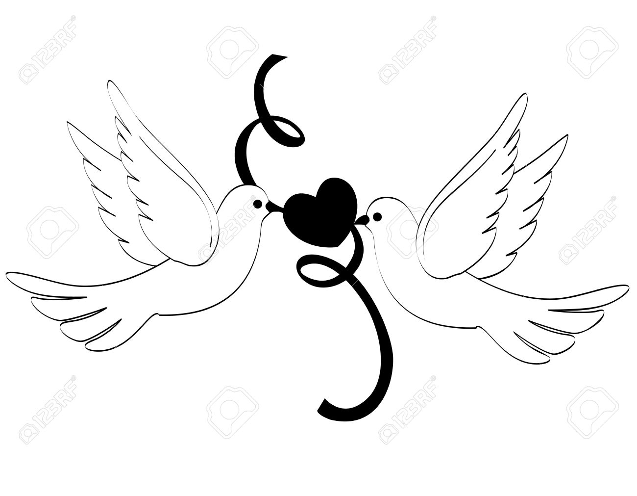 White Doves With Heart Clipart Station