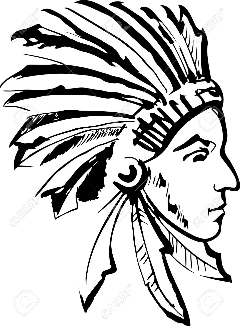 hight resolution of american indian chief clipart 6