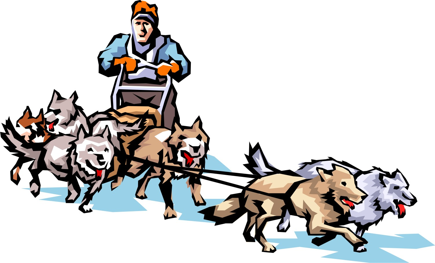 hight resolution of dog sled clipart 4