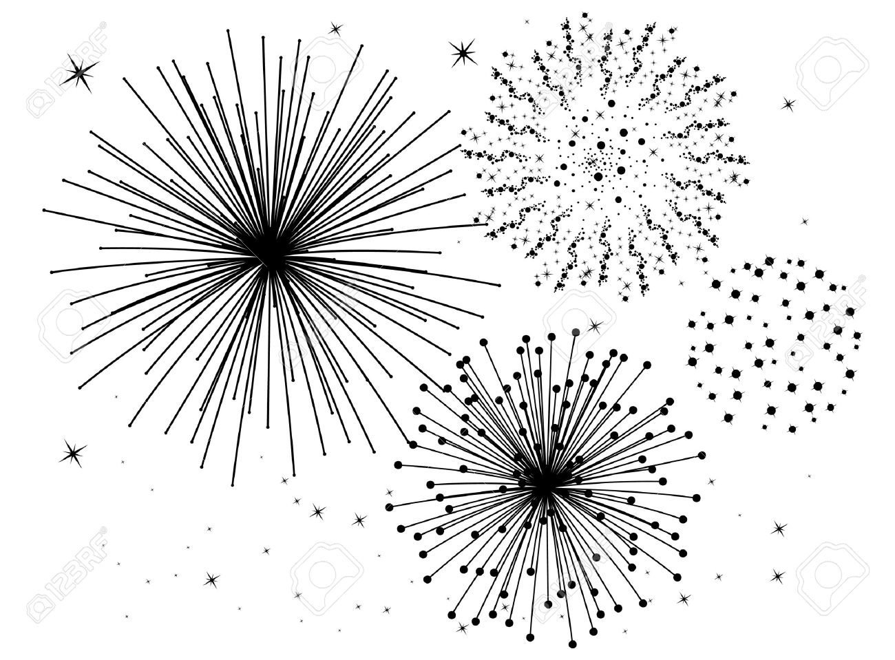 hight resolution of firework clipart black and white 5