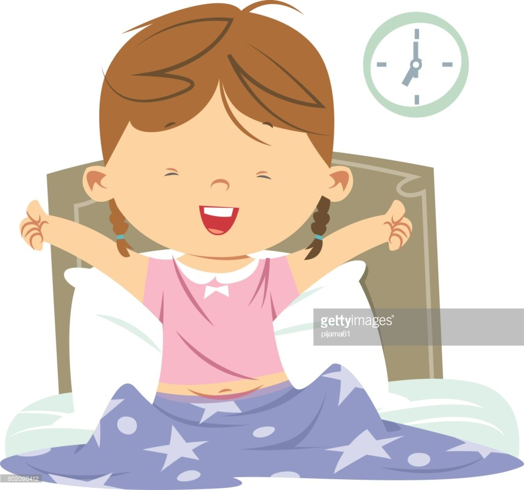 hight resolution of girl waking up clipart 8