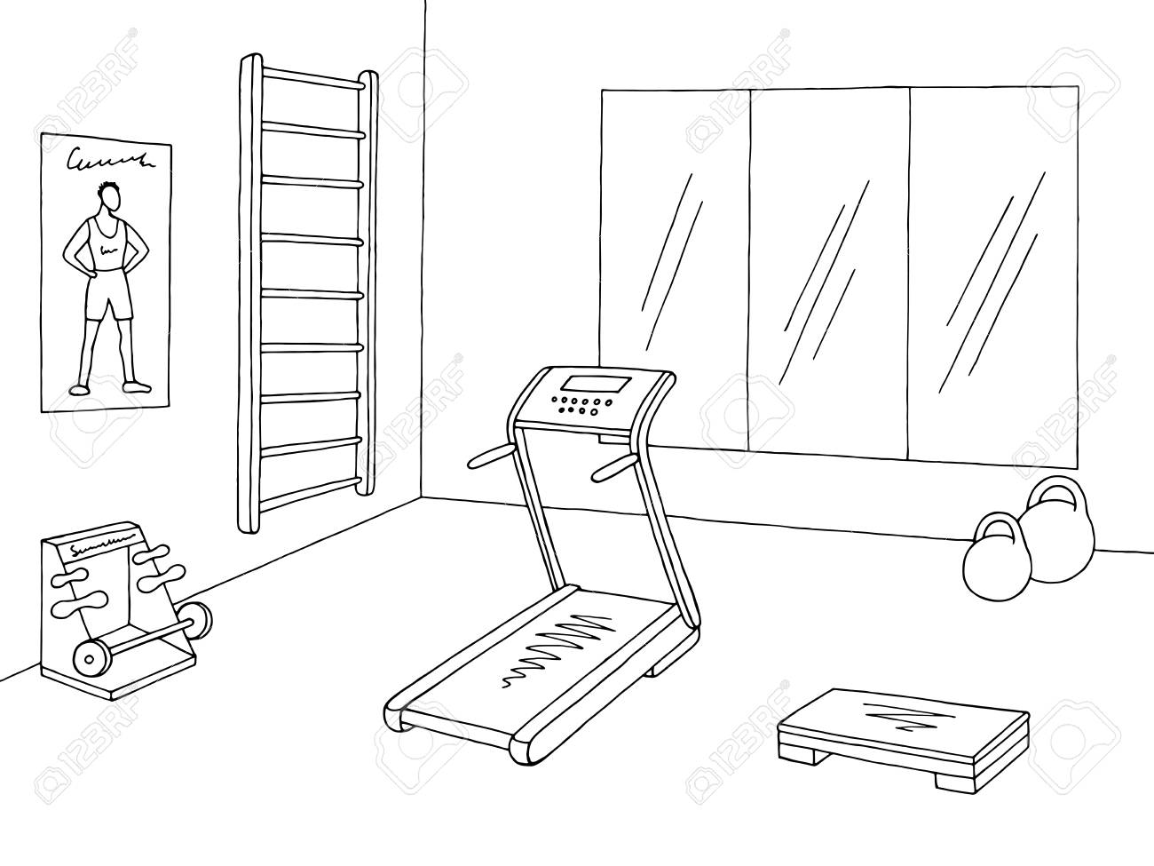 hight resolution of gym clipart black and white 5