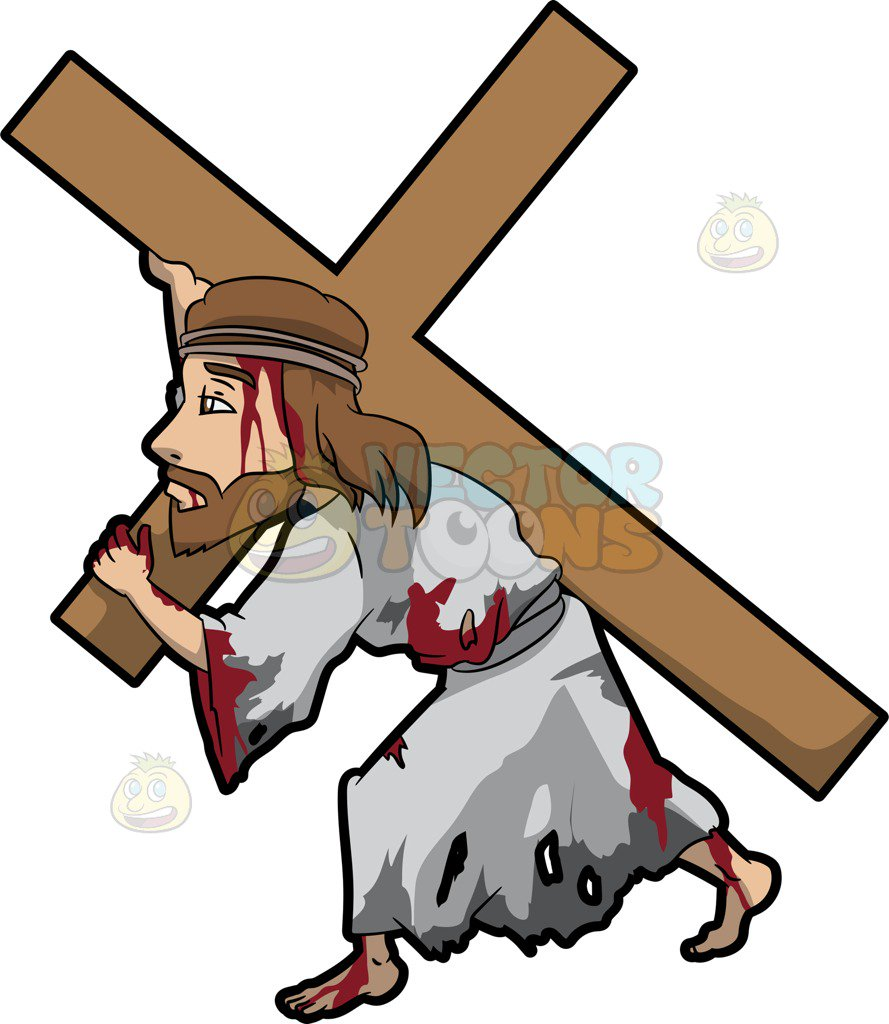 hight resolution of jesus carrying cross clipart 1