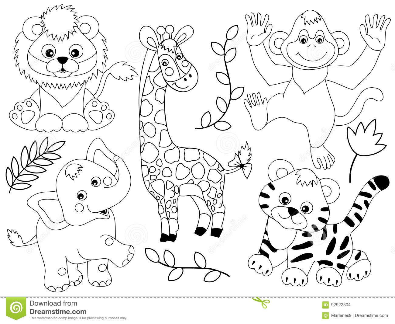 Jungle Animals Clipart Black And White 2 Clipart Station