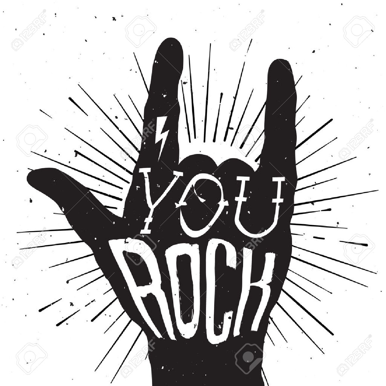 hight resolution of rock and roll clipart black and white 4