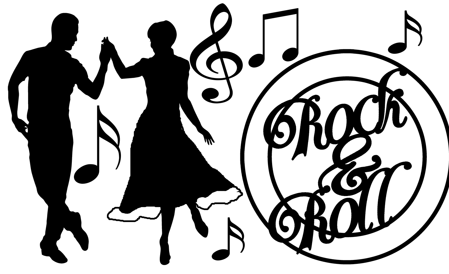 hight resolution of rock and roll clipart black and white 7