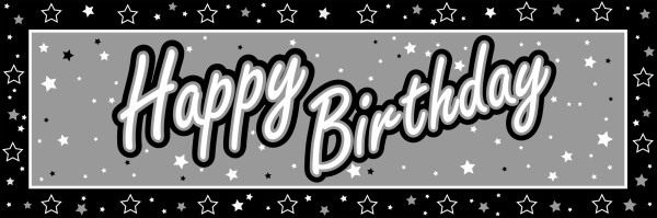 60th birthday clipart outline black