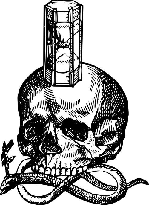 small resolution of hourglass medieval skull snake woodcut