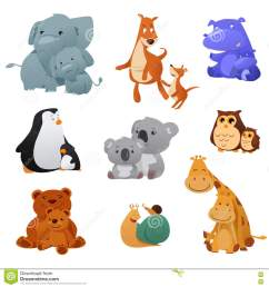 wild animals and their young baby stock vector  [ 1300 x 1390 Pixel ]