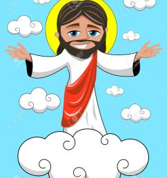 cartoon smiling jesus opens his hands in heavenly kingdom royalty  [ 1043 x 1300 Pixel ]