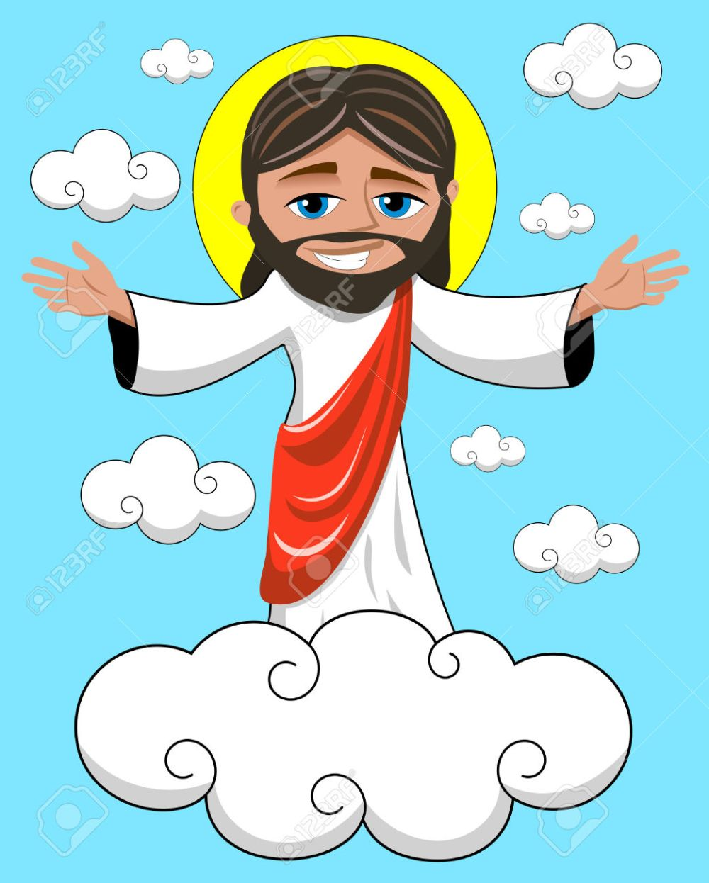 medium resolution of cartoon smiling jesus opens his hands in heavenly kingdom royalty