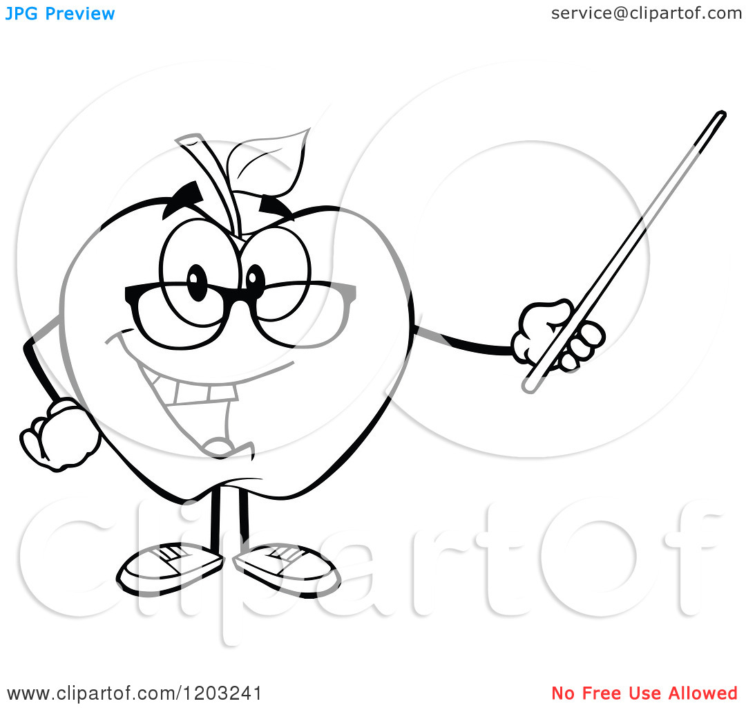 Apple Cartoon Clipart Black And White