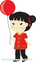 clipart asian clip balloon holding illustration oriental clipground cliparts