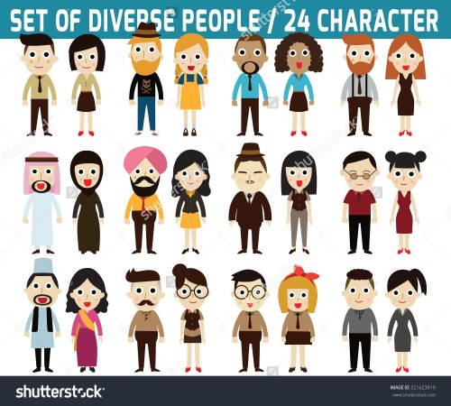 small resolution of set full body diverse business people infographic stock vector