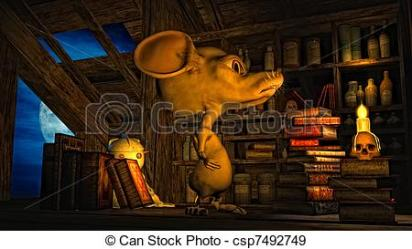 attic clipart mouse illustration scary clip bookshelf drawing clipground floor