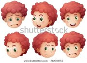 baby boy face with curly hair clipart