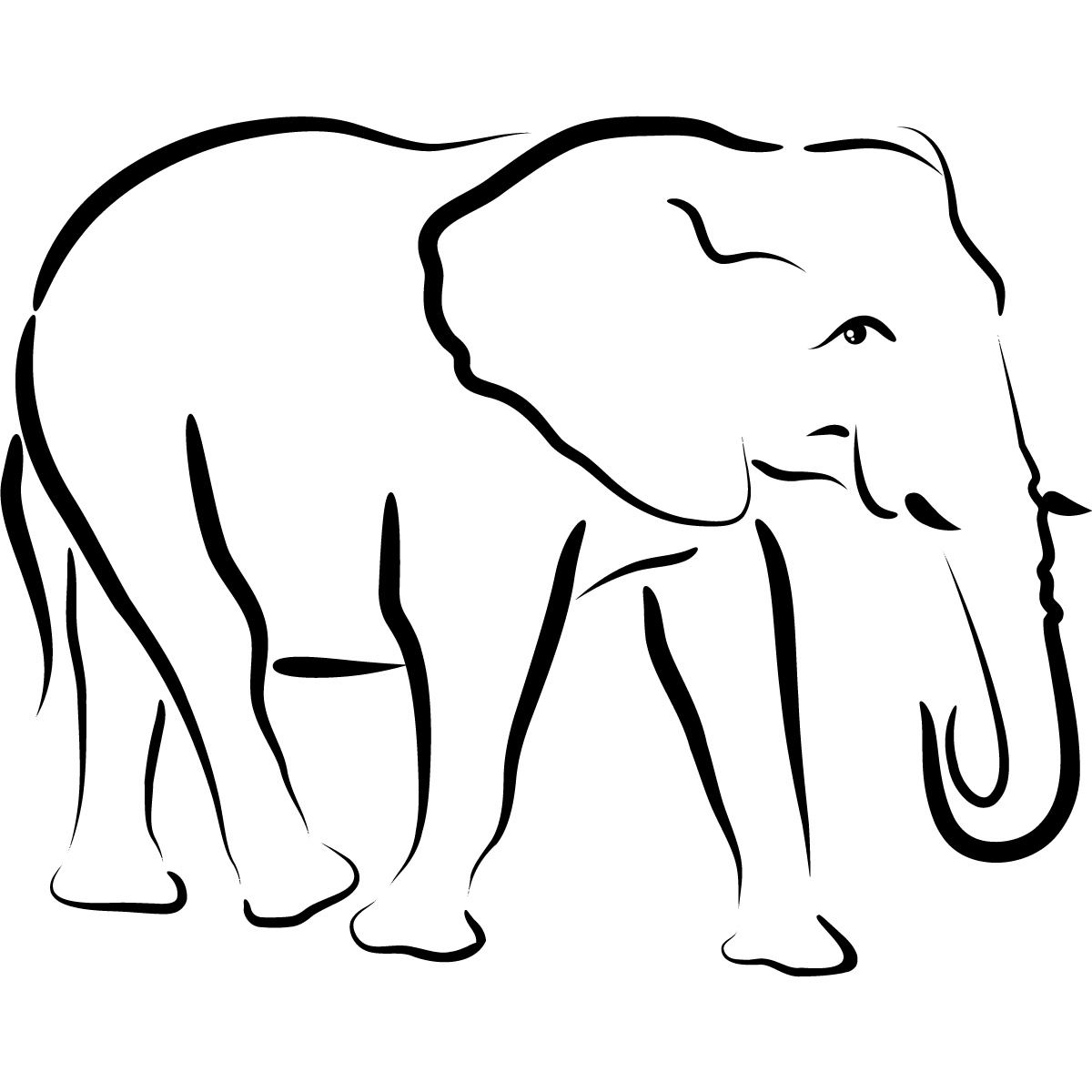 Baby Elephant Head Clipart Black And White