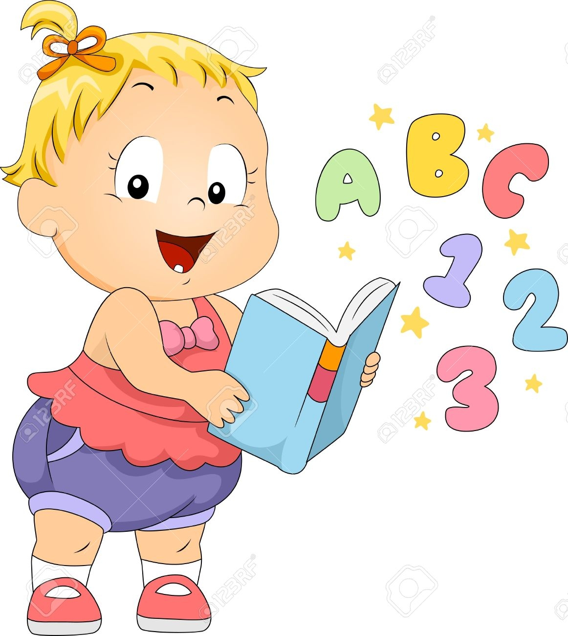 Baby Reading A Book Clipart