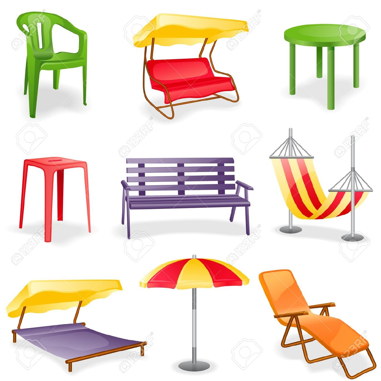 hight resolution of garden furniture icon set isolated on a white background royalty