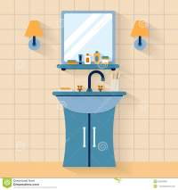 Cartoon Bathroom Sink And Mirror