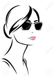 face woman outline vector sunglasses clipart drawing trendy portrait drawings mode fille mujer google female della ragazza ritratto donna silhouette