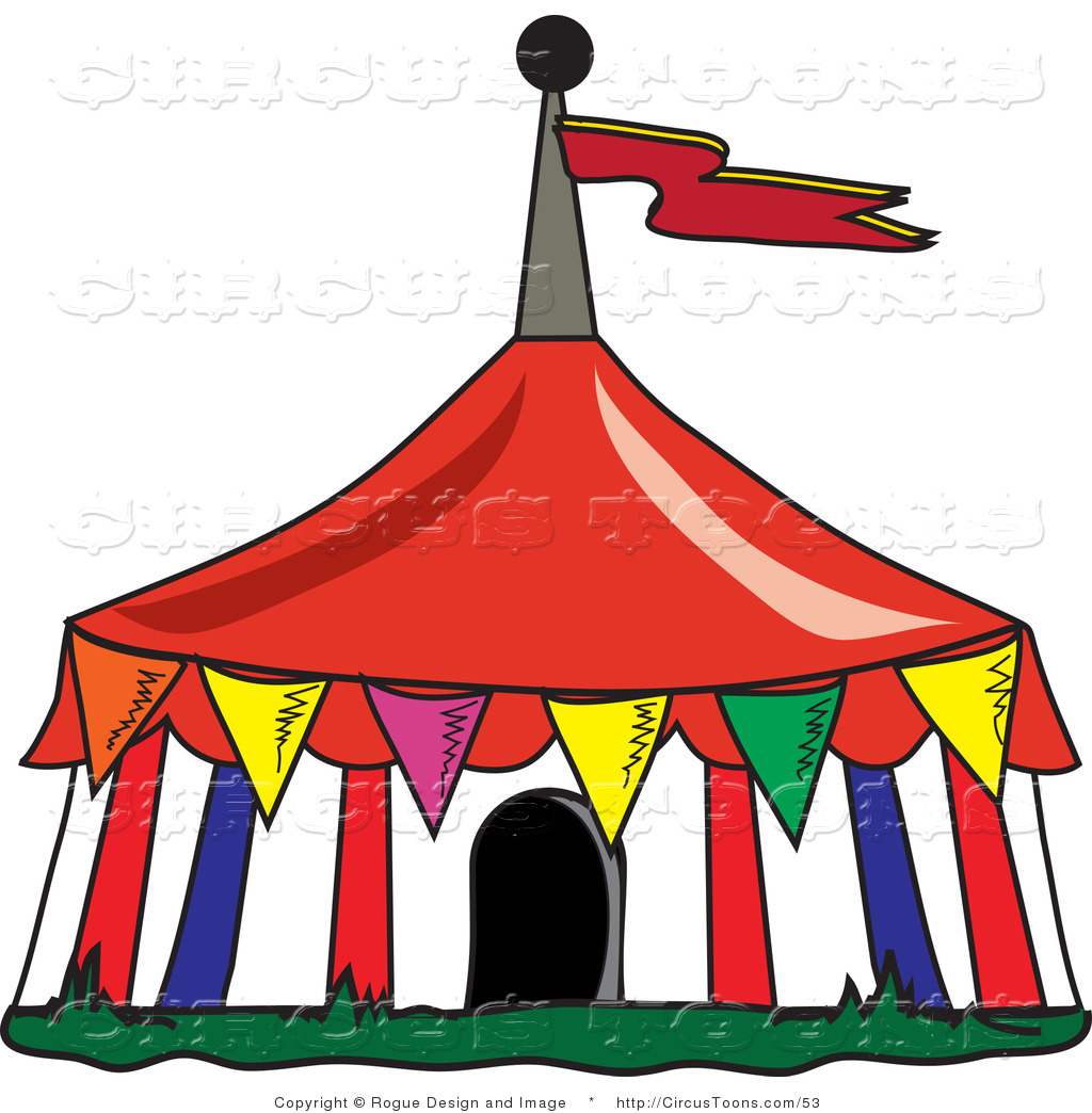 hight resolution of circus clipart of a colorful triangular flags around a big top circus