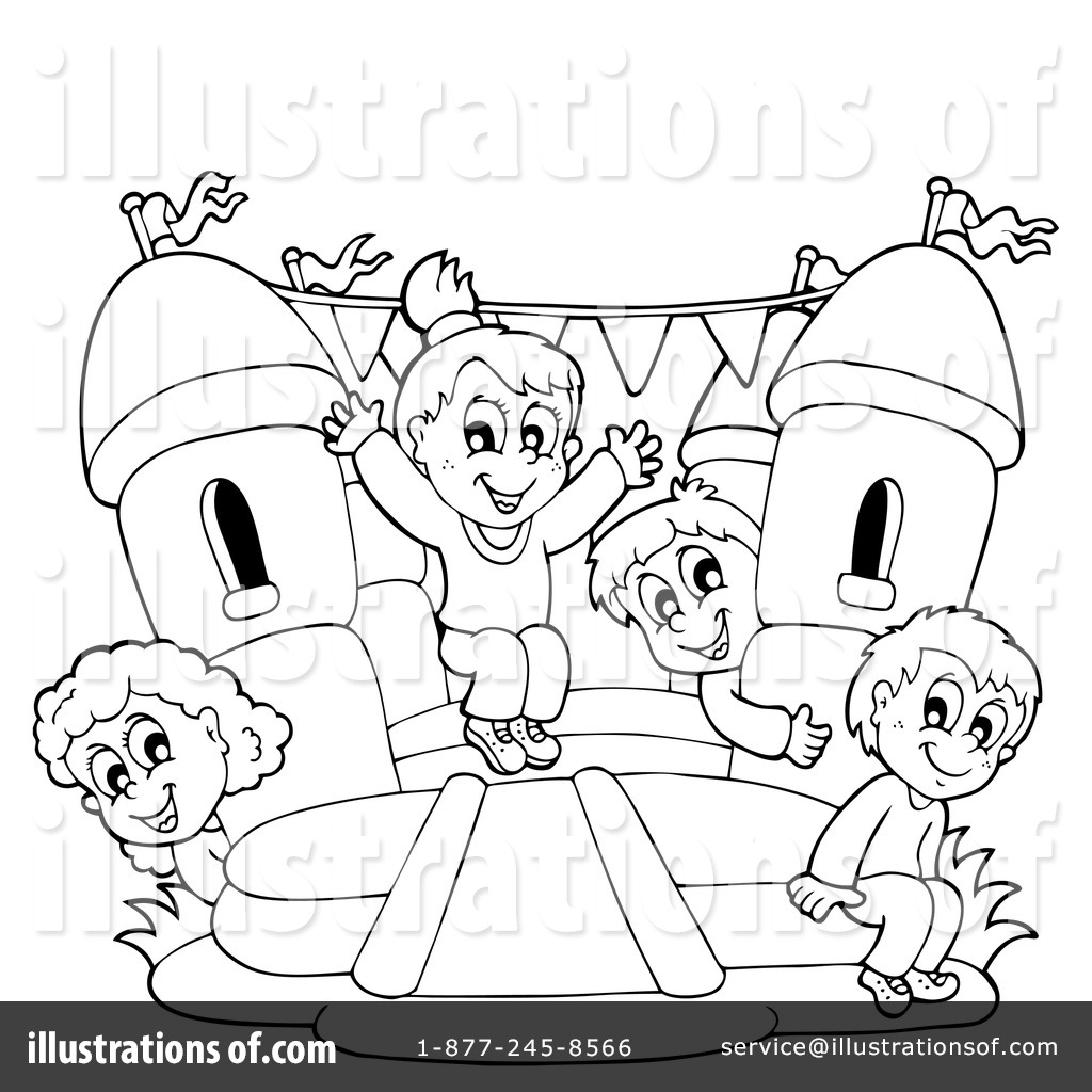 Black And White Bounce House Clipart