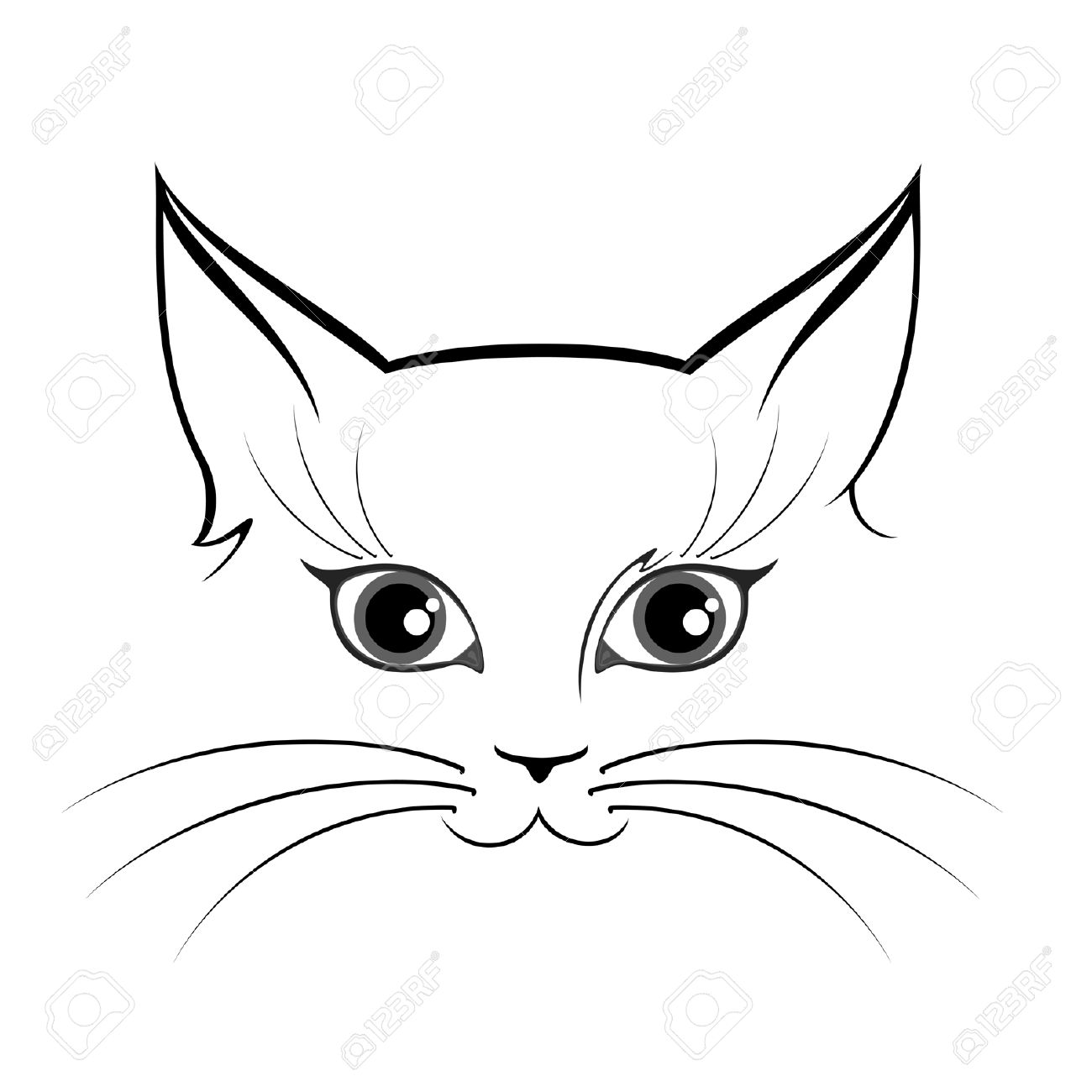 Black And White Cat Eyes Clipart