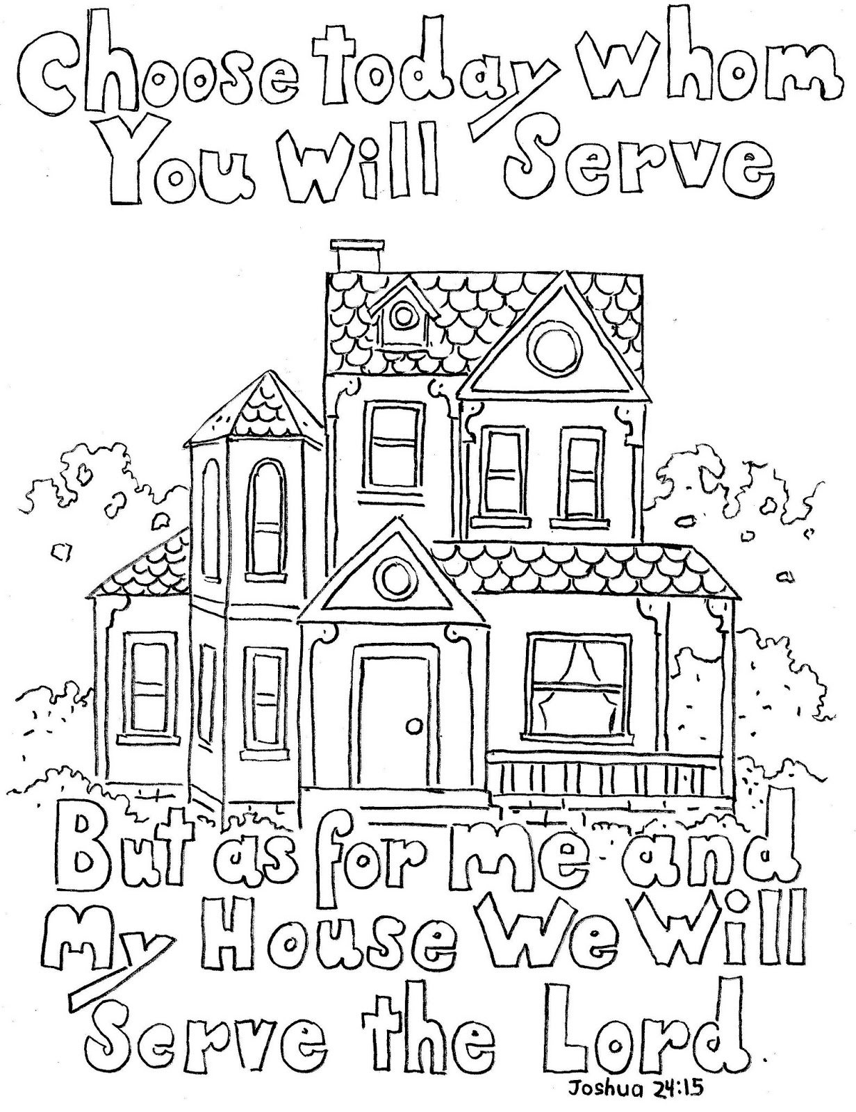 black and white clipart of as for me and my house we shall