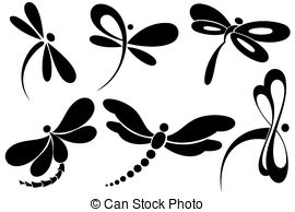 black and white dragonfly clipart