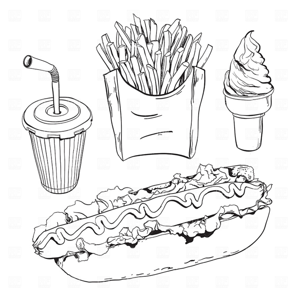 Black And White Fast Food Free Clipart
