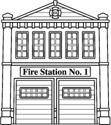 station fire clipart coloring pages clip department drawing firehouse colouring bw truck firefighter building printable bmp pixels fireman clipground party