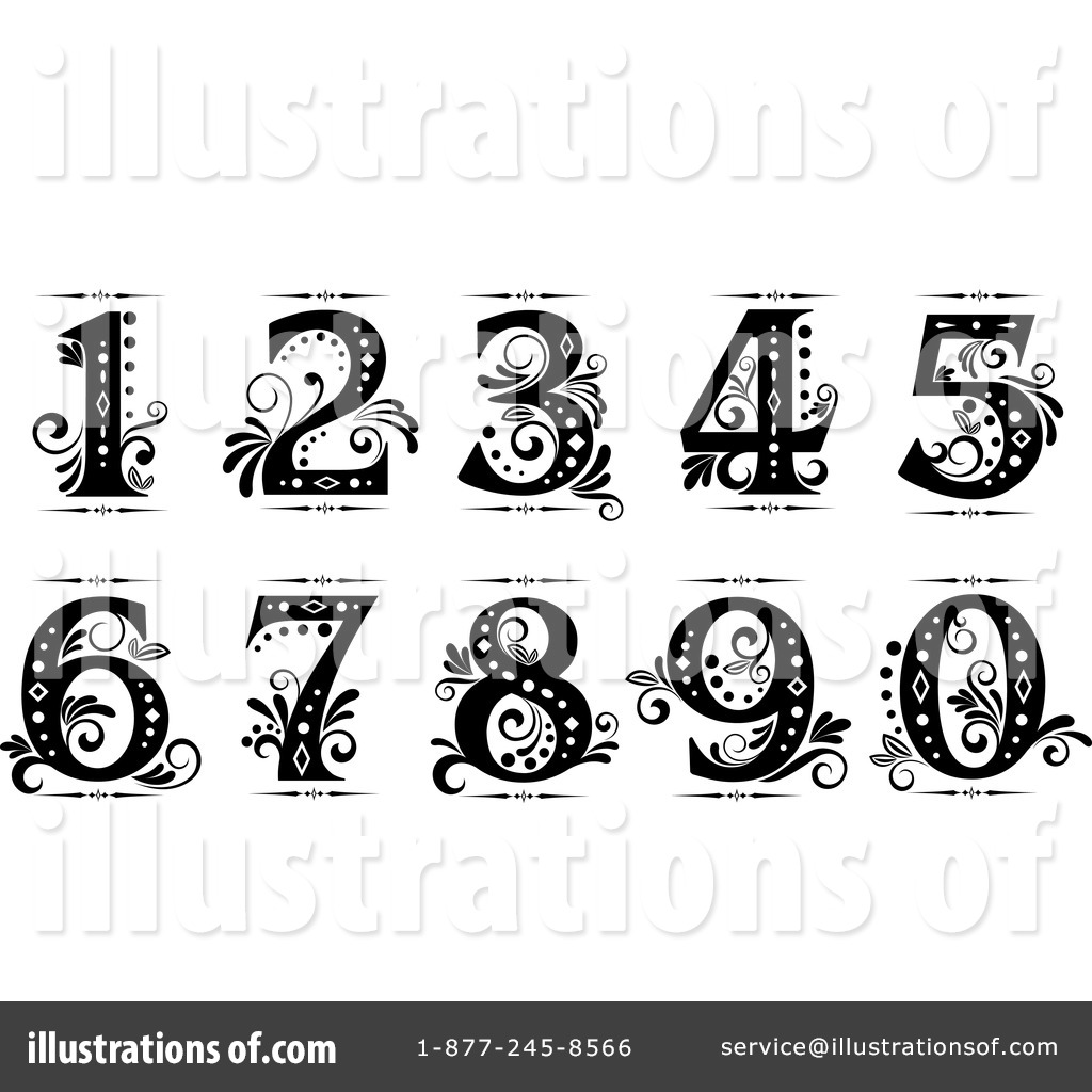 Black And White Numbers Clipart