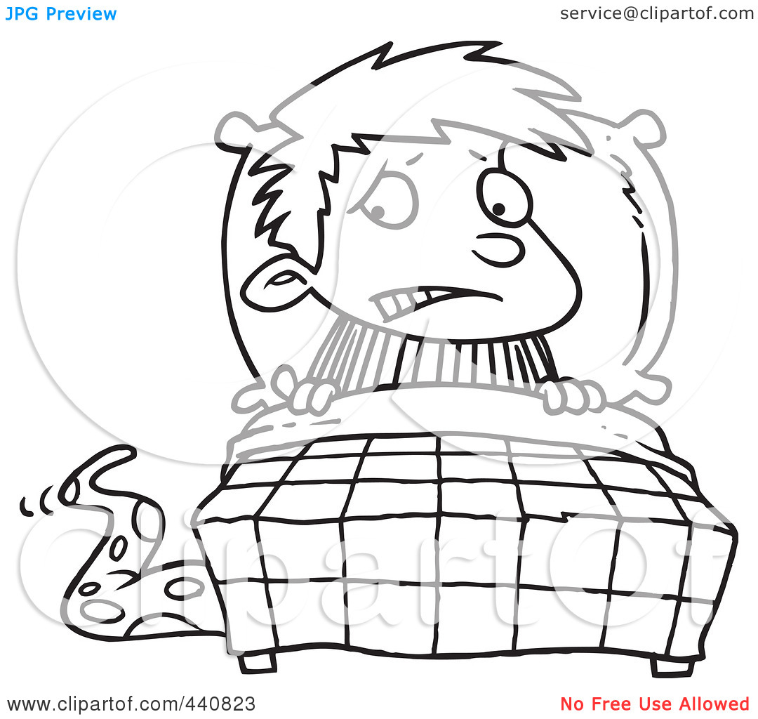 Black And White Scared Boy Clipart