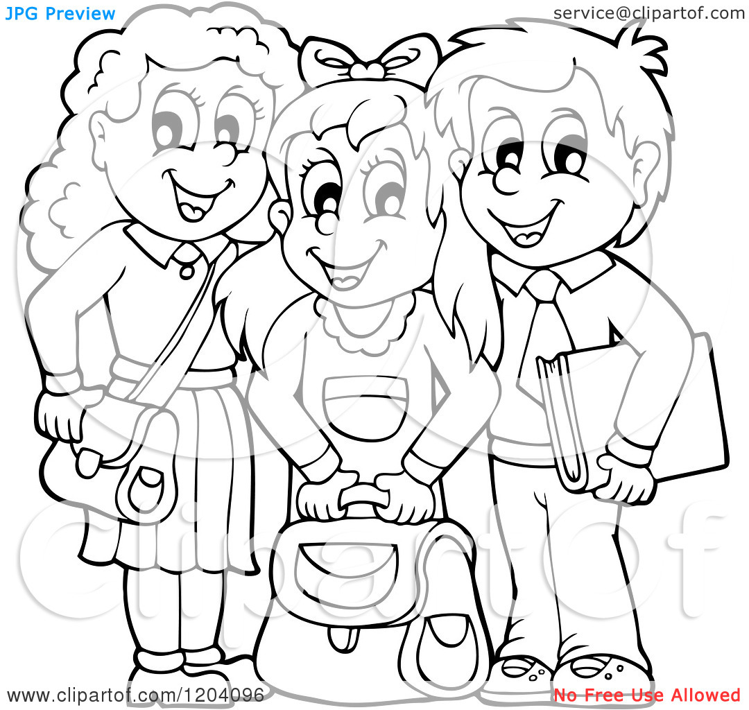 Black And White School Children Clipart 20 Free Cliparts