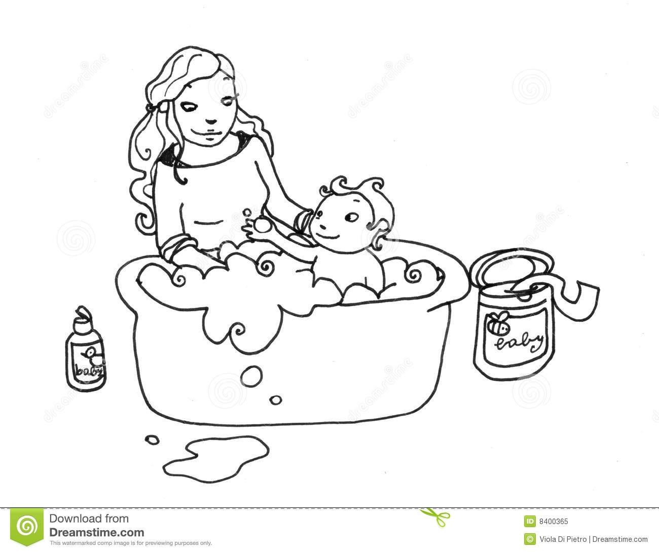 Black Boy Take A Bath Clipart