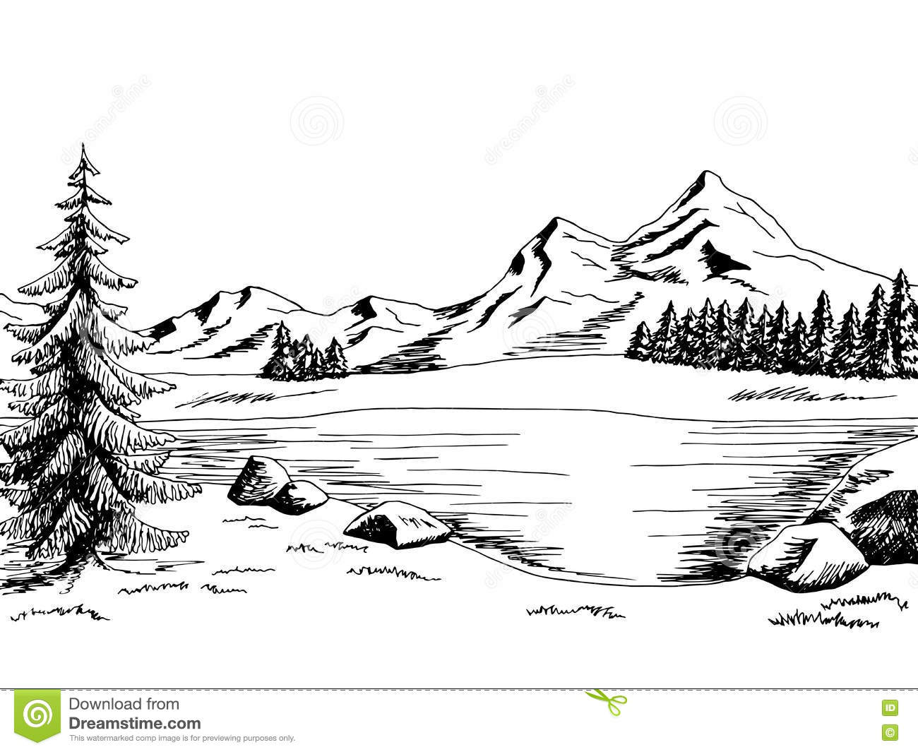 Mountain River Black And White Clipart