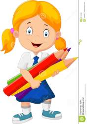 cartoon clipart holding pencils child blonde cliparts female vector