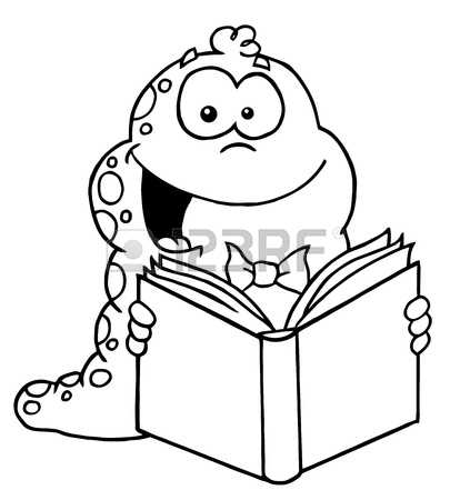 bookworm with balloon clipart black and white outline 20