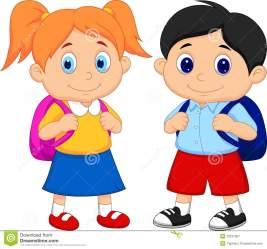 boy student clipart cartoon backpacks