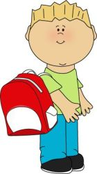 boy backpack clipart clip wearing cartoon child students backpacks boys pack cliparts take shoulder coat bookbag kid mycutegraphics clipground carrying