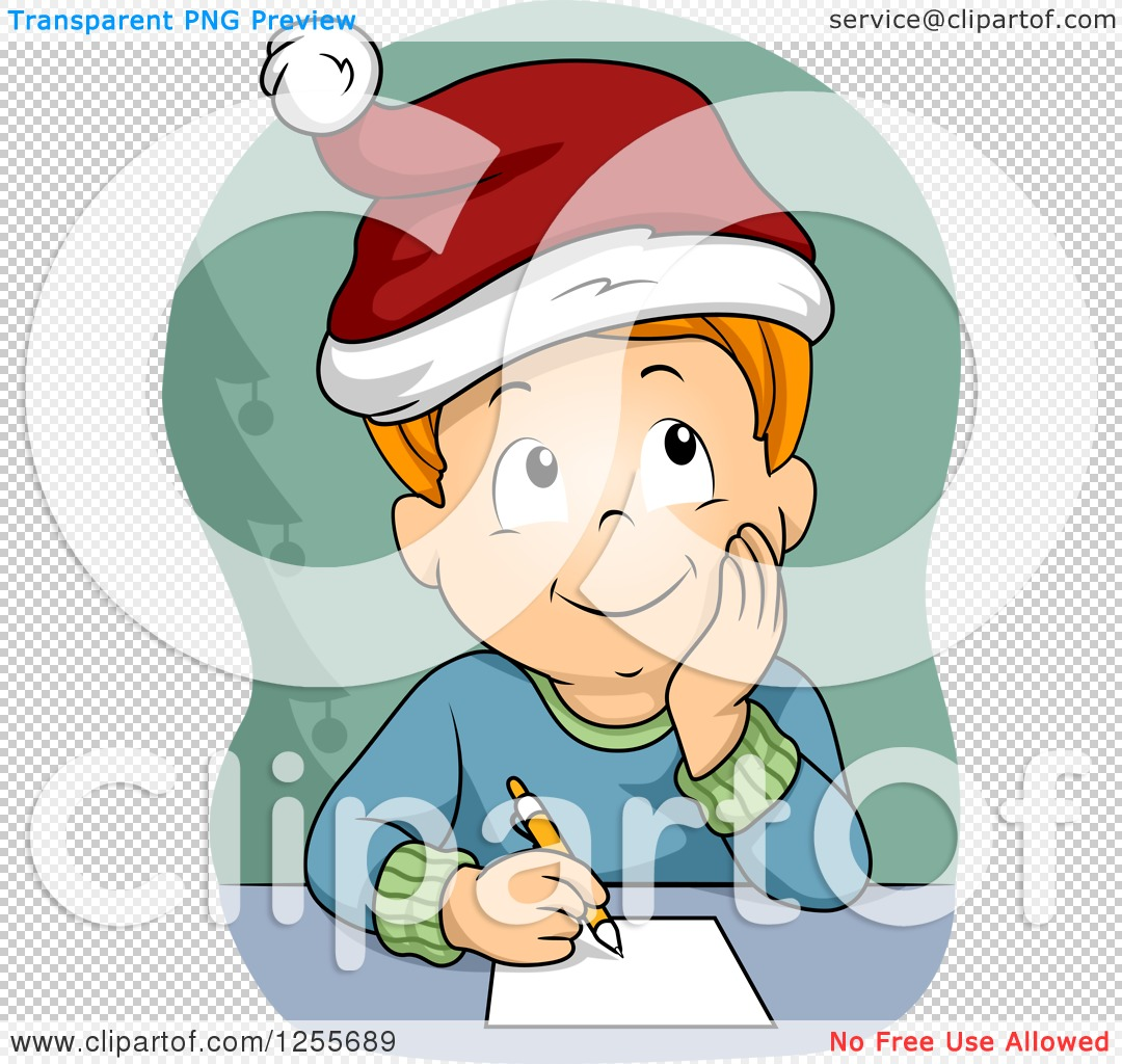 hight resolution of clipart of a red haired white boy thinking about his christmas