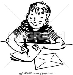 writing clipart boy clip letter vector clipground