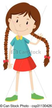 little brown haired girl clipart