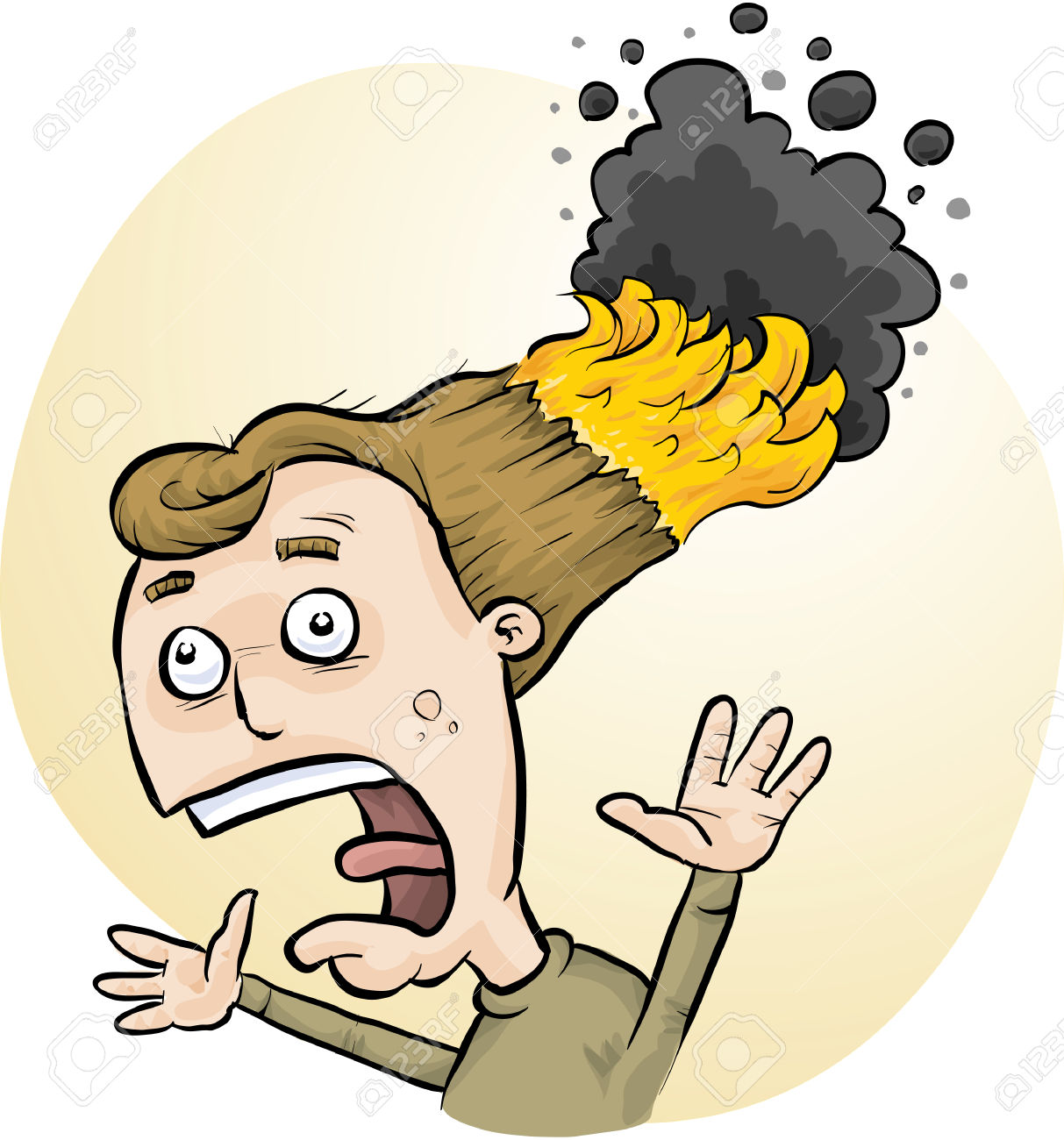 hight resolution of girl with hair on fire clipart