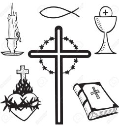christian hand drawn symbols illustration candle cross bible fish heart free clipart for church jesus hands [ 1300 x 1300 Pixel ]