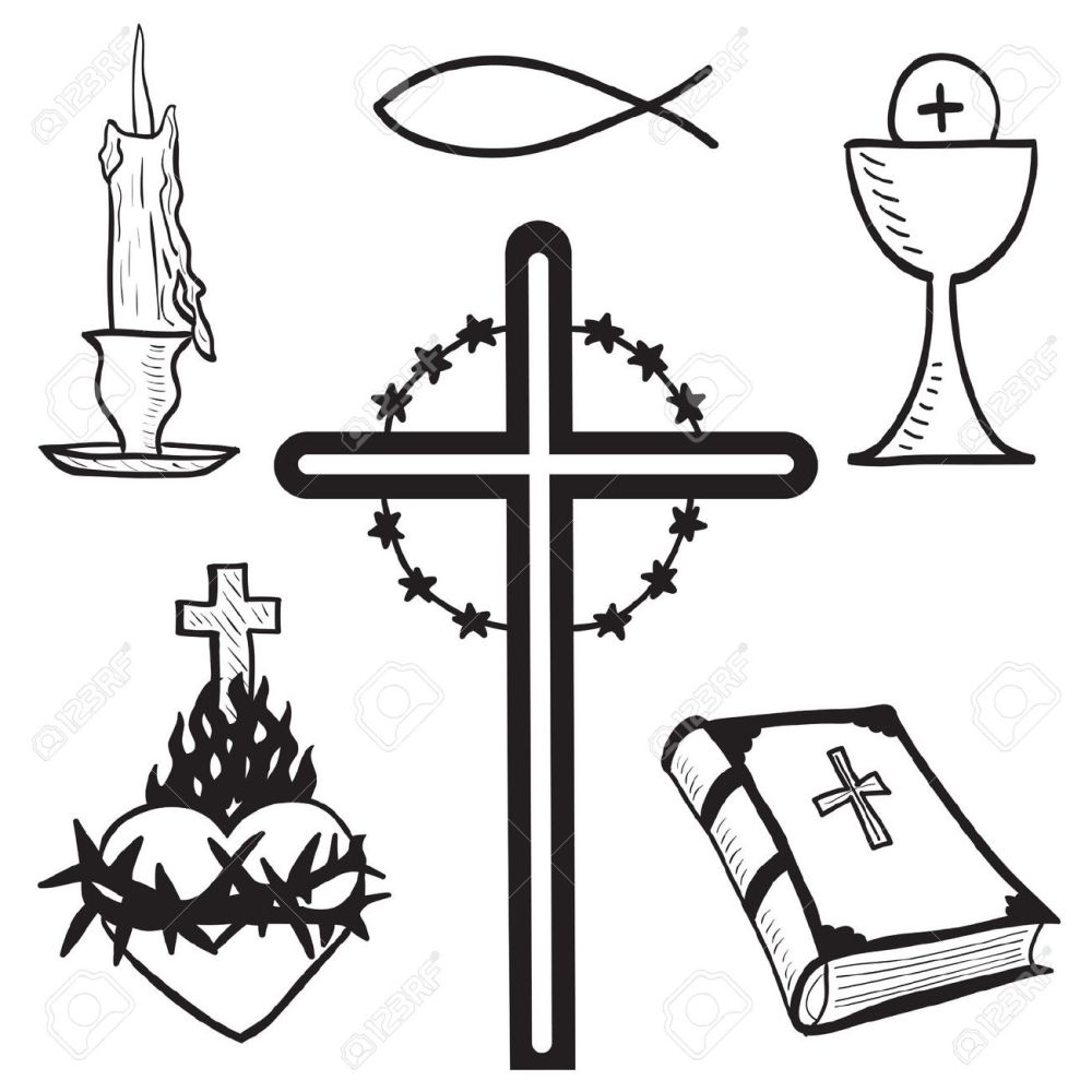 medium resolution of christian hand drawn symbols illustration candle cross bible fish heart free clipart for church jesus hands