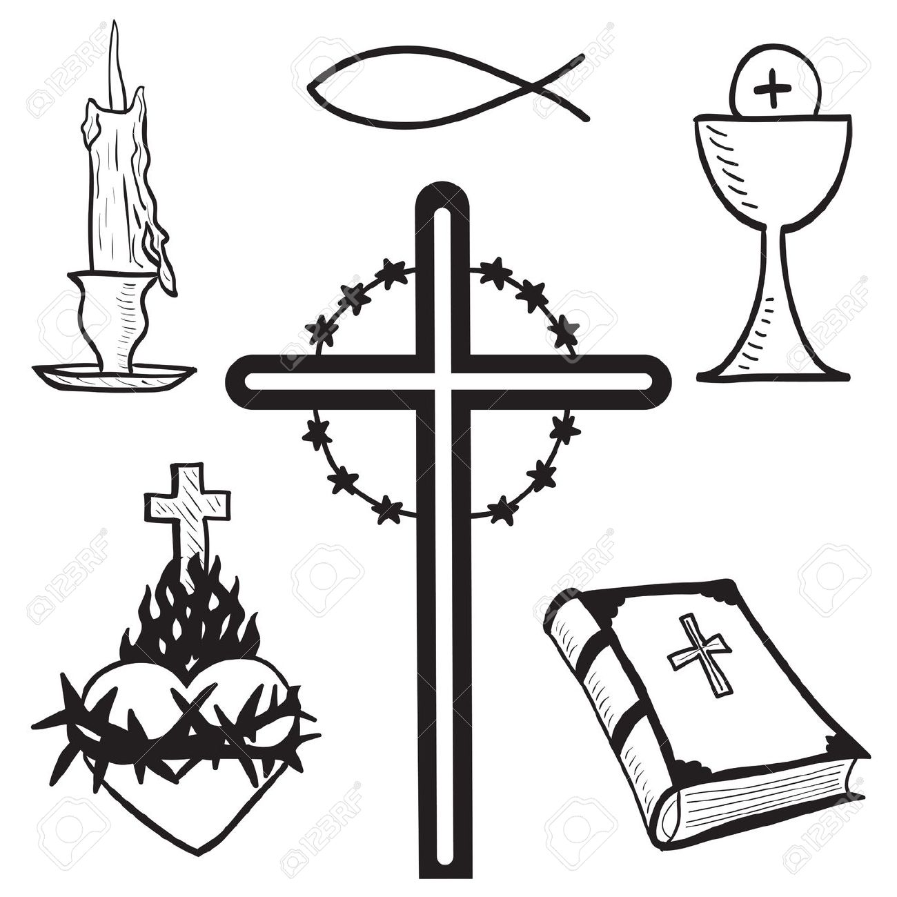 hight resolution of christian hand drawn symbols illustration candle cross bible fish heart free clipart for church jesus hands
